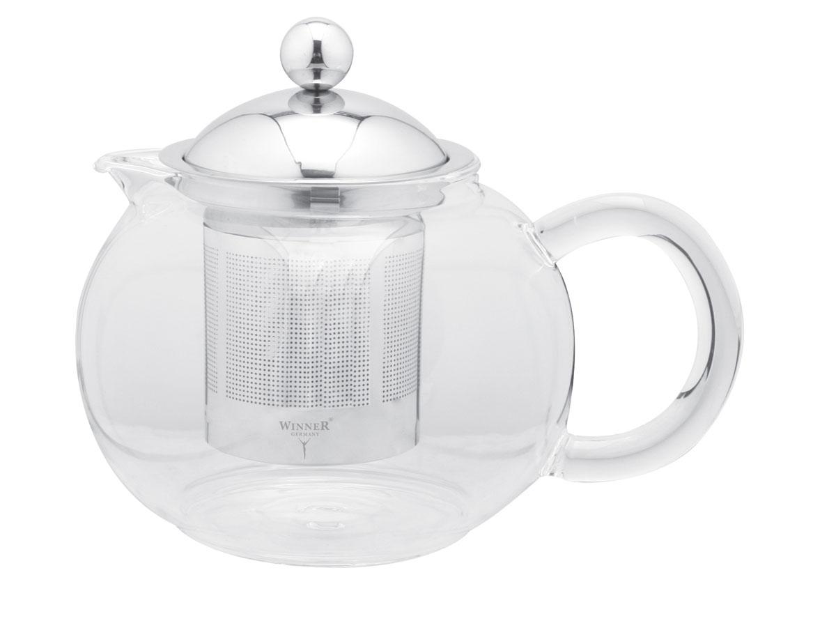 Чайник заварочный Winner, 700 мл. WR-5212WR-5212Заварочный чайник Winner, выполненный из жаропрочного стекла, практичный и простой в использовании. Он займет достойное место на вашей кухне и позволит вам заварить свежий, ароматный чай. Чайник оснащен сетчатым фильтром из нержавеющей стали. Он задерживает чаинки и предотвращает их попадание в чашку, а прозрачные стенки дадут возможность наблюдать за насыщением напитка. Крышка чайника изготовлена из нержавеющей стали с зеркальной полировкой. Заварочный чайник Winner послужит хорошим подарком для друзей и близких. Размер чайника: 18 см х 14 см х 14 см.