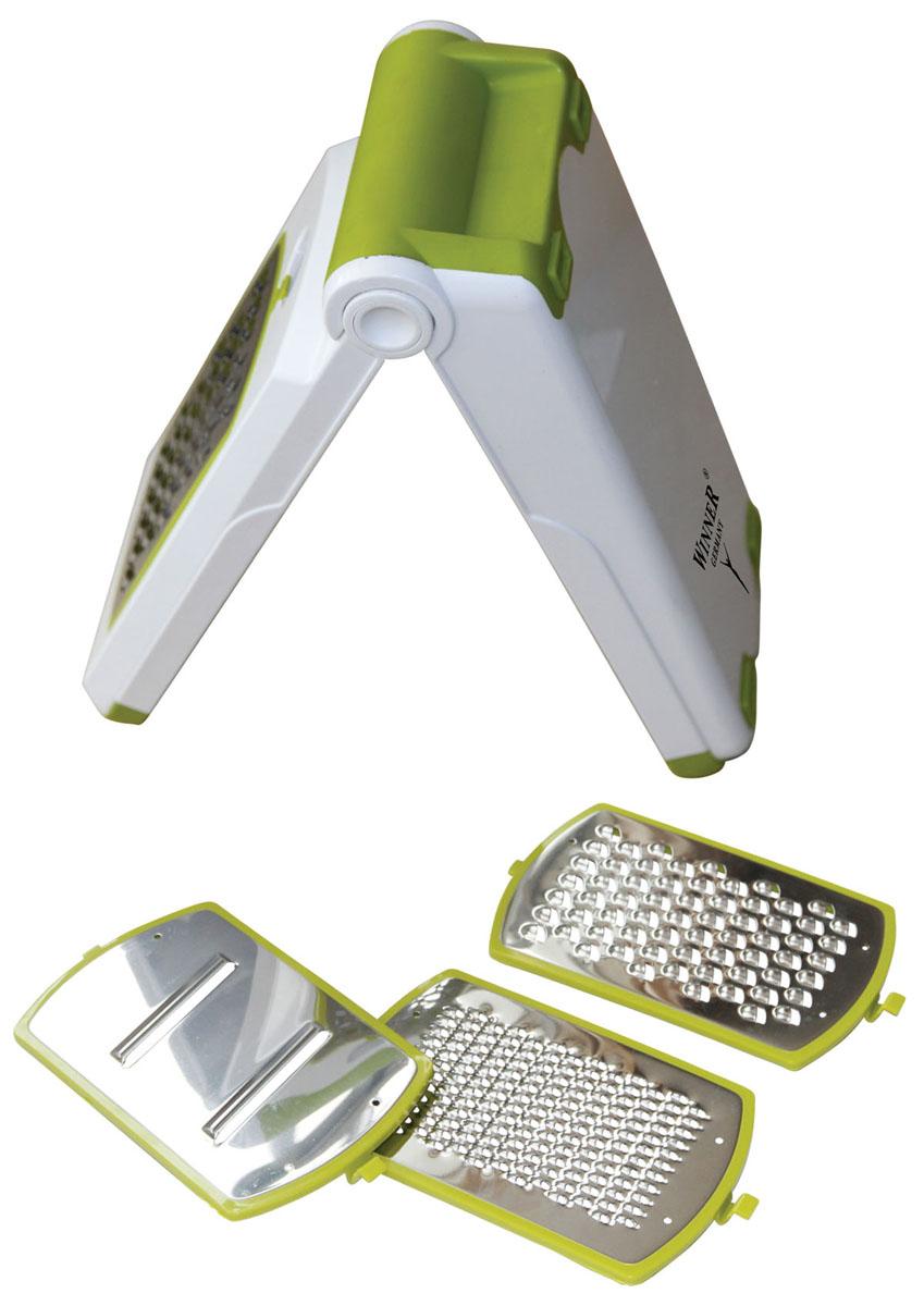 Терка многофункциональная Winner, цвет: белый, салатовыйWR-7419Многофункциональная терка Winner предназначена для нарезания продуктов всевозможными способами и незаменима для быстрого и удобного приготовления салатов, супов и других блюд. Прибор удобен в применении и хранении: подставка для ножей обеспечивает устойчивость прибора при использовании и одновременно служит контейнером для хранения, занимая при этом минимальное пространство на кухне. Меняя насадки, вы получаете выбор нарезки фруктов, овощей и других продуктов самым быстрым и легким способом. В комплекте: - нож для мелкой нарезки, - нож для средней нарезки двусторонний, - нож для крупной нарезки, - нож для нарезки крупными ломтиками, - держатель для ножей, - подставка для использования и хранения ножей. Такая многофункциональная терка поможет вам быстро, легко и красиво нарезать овощи и приготовить ваши любимые блюда.