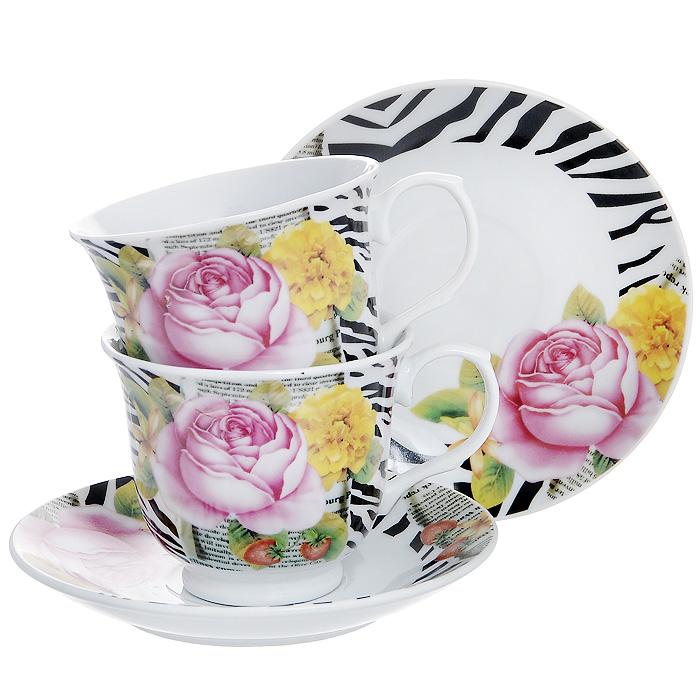Набор чайный Пион, 4 предмета529-085Чайный набор Пион, выполненный из высококачественного фарфора, состоит из двух чашек и двух блюдец. Изделия декорированы изящным изображением цветов на фоне газеты. Элегантный дизайн и яркое оформление предметов набора привлекут к себе внимание и украсят интерьер вашей кухни. Чайный набор Пион идеально подойдет для сервировки стола и станет отличным подарком к любому празднику.