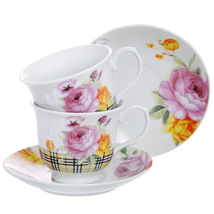"""Набор чайный """"Садовые розы"""", 4 предмета"""