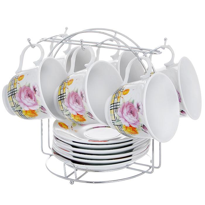 """Набор чайный """"Садовые розы"""" на подставке, 13 предметов"""