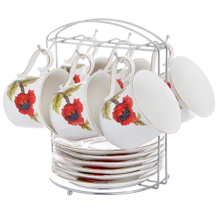 Набор чайный Красный мак на подставке, 13 предметов590-028Чайный набор Красный мак состоит из 6 чашек и 6 блюдец, которые размещаются на металлической подставке. Изделия выполнены из высококачественного фарфора и декорированы красочным изображением маков. Элегантный дизайн и яркое оформление предметов набора привлекут к себе внимание и украсят интерьер вашей кухни. Чайный набор Красный мак идеально подойдет для сервировки стола и станет отличным подарком к любому празднику.