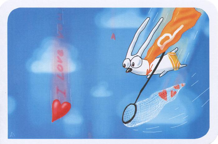 Открытка I Love You. Ручная авторская работа. sp006sp006Авторская открытка станет необычным и ярким дополнением к подарку дорогому и близкому вам человеку или просто добавит красок в серые будни. Открытка оформлена изображением зайца с сачком, ловящего сердечки. Обратная сторона открытки не содержит текста, что позволит вам самостоятельно написать самые теплые и искренние пожелания. К открытке прилагается бумажный конверт.