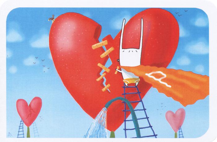 Открытка Супермен. Ручная авторская работа. sp007sp007Авторская открытка станет необычным и ярким дополнением к подарку дорогому и близкому вам человеку или просто добавит красок в серые будни. Открытка оформлена изображением зайца в плаще супермена, склеивающего разбитое сердце пластырем. Обратная сторона открытки не содержит текста, что позволит вам самостоятельно написать самые теплые и искренние пожелания. К открытке прилагается бумажный конверт.