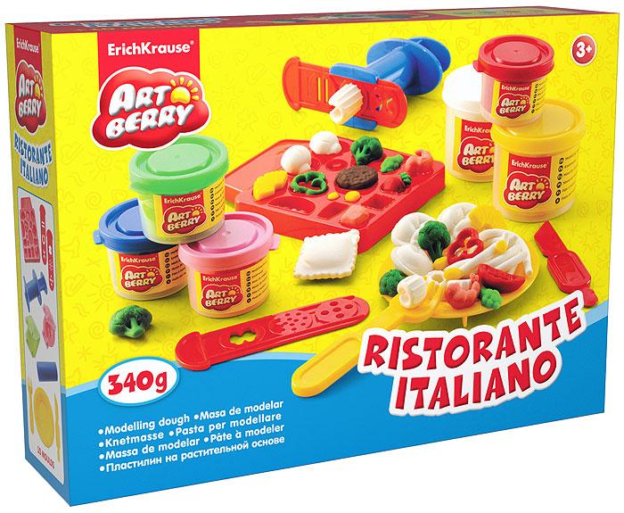 Набор дя лепки (на растительной основе) Ristorante Italiano, 6 цветов30385Пластилин на растительной основе Ristorante Italiano - увлекательная игрушка, развивающая у ребенка мелкую моторику рук, воображение и творческое мышление. Пластилин легко разминается, не липнет к рукам и рабочей поверхности, не пачкает одежду. Цвета смешиваются между собой, образуя новые оттенки. Пластилин застывает на открытом воздухе через 24 часа. Набор содержит пластилин 6 цветов (зеленого, красного, розового, синего, желтого, белого), объемную форму-трафарет, 2 плоских формы-трафарета, 2 3D формочки, пресс для создания пластилинового спагетти, вилочку, тарелочку, валик, стек. Пластилин каждого цвета хранится в отдельной пластиковой баночке. С пластилином на растительной основе Ristorante Italiano ваш ребенок будет часами занят игрой.