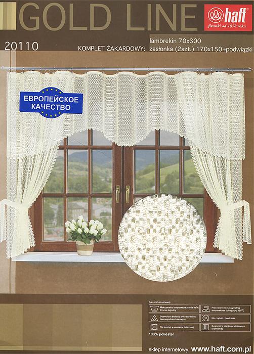 Комплект штор для кухни Haft, на ленте, цвет: кремовый, высота 175 см608509Комплект штор Haft, изготовленный из прочного и легкого полиэстера кремового цвета, органично впишется в интерьер кухонной комнаты. В набор входят две шторы и ламбрекен. Также для более изящного расположения штор на окне прилагаются подхваты. Все элементы комплекта сшиты на универсальной шторной ленте.
