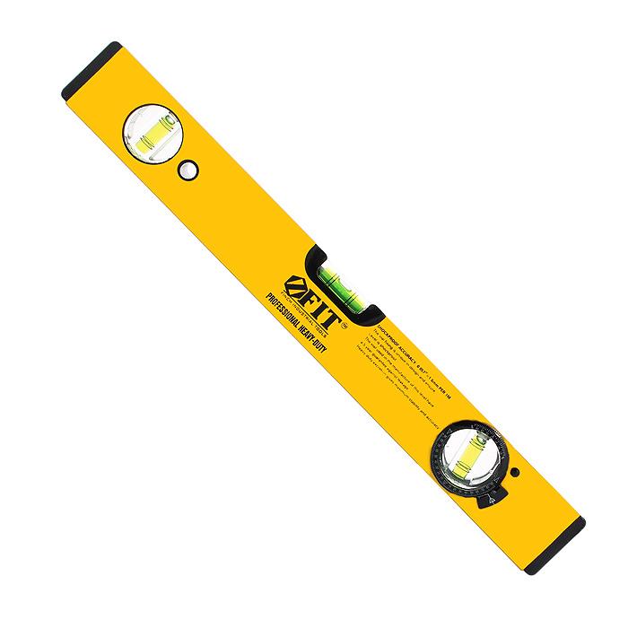 Уровень магнитный усиленный Fit Профи, 2 глазка + 1 глазок поворотный, цвет: желтый, 400 мм18244Уровень магнитный Fit с 3 глазками (2 глазка + 1 поворотный) используется при необходимости контроля горизонтальных и вертикальных плоскостей. Легкий, пластиковый, усиленный корпус уровня облегчает с ним работу. Фрезерованная рабочая грань. Имеется 2 магнита для фиксации на железном покрытии для удобства работы.