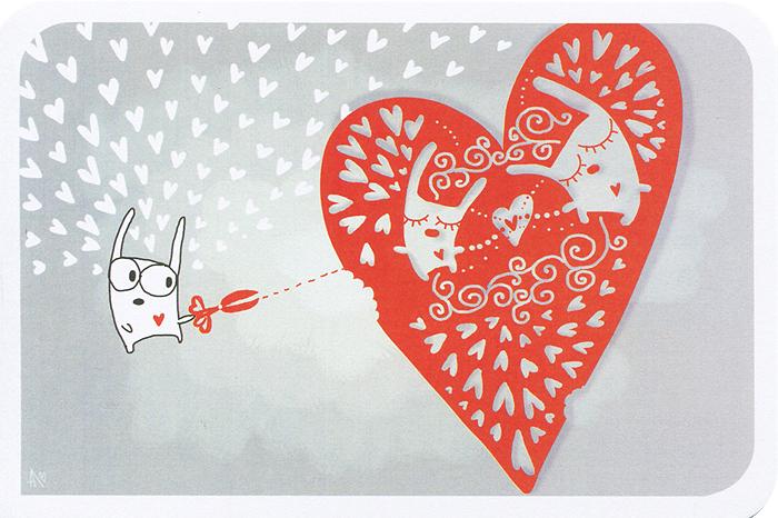 Открытка Love - Ручная авторская работа. miniIL043miniIL043Авторская открытка Love станет необычным и ярким дополнением к подарку близкому человеку. Открытка оформлена изображением сердца и зайцев. Обратная сторона открытки не содержит текста, что позволит вам самостоятельно написать самые теплые и искренние пожелания.