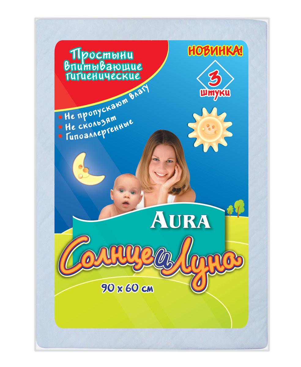 Простыни впитывающие гигиенические Aura Солнце и Луна, 90 см х 60 см, 3 шт3337Впитывающие гигиенические простыни Aura Солнце и Луна предназначены для дополнительной защиты постельного белья при уходе за детьми. Поверхность из мягкого нетканого материала не раздражает кожу. Специальная пробивка и внутренний слой из распушенной целлюлозы обеспечивают быстрое впитывание и распределение влаги. Внутренний слой простыни представляет собой нескользящую защитную пленку, препятствующую протеканию. Края простыни надежно скреплены для лучшей защиты. Простыни удобны во время смены подгузника. В комплект входят 3 одноразовые простыни. Характеристики: Материал: распушенная целлюлоза, нетканный материал, полиэтилен, медицинская бумага. Размер простыни: 90 см x 60 см.