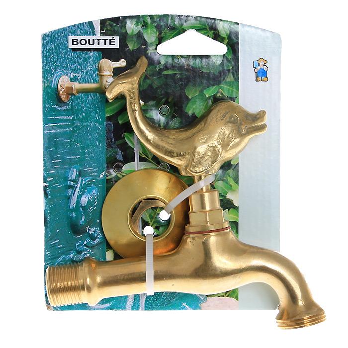 Кран садовый Boutte Дельфин с вентилем, 3/40158133Декоративный садовый кран Boutte стилизован под золото. Вентиль, выполненный в форме дельфина, будет служить эксклюзивным украшением в любом саду.