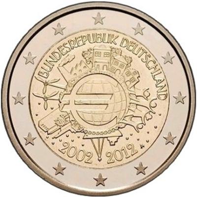 Монета номиналом 2 евро 10 лет введения наличных евро. Германия, 2012 год211104Монета номиналом 2 евро 10 лет введения наличных евро. Германия, 2012 год. Диаметр 2,5 см. Сохранность UNC (без обращения).
