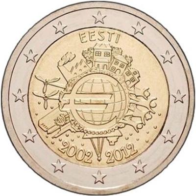 Монета номиналом 2 евро 10 лет введения наличных евро. Эстония, 2012 год211104Монета номиналом 2 евро 10 лет введения наличных евро. Эстония, 2012 год. Диаметр 2,5 см. Сохранность UNC (без обращения).