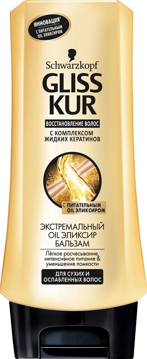 Gliss Kur Бальзам для волос Экстремальный Oil Эликсир, для сухих и ослабленных волос, 200 мл9262035Новая линия Gliss Kur Экстремальный Oil Эликсир – золотой стандарт восстановления сухих и поврежденных волос. Формула с Питательным Oil Эликсиром и золотыми частицами хранит в себе секрет революционного восстановления волос и уменьшает ломкость волос до 95% при комплексном использовании шампуня, бальзама и специальных средств по уходу за волосами линии Gliss Kur Экстремальный Oil Эликсир. Бальзам Gliss Kur Экстремальный Oil Эликсир обеспечивает легкое расчесывание волос, препятствует спутываемости, способствует укреплению их структуры. Бальзам рекомендуется наносить на влажные волосы сразу после мытья, оставлять на несколько минут, после чего смывать водой. Окунитесь в мир роскоши вместе с новой коллекцией Gliss Kur Экстремальный Oil Эликсир! Характеристики: Объем: 200 мл. Артикул: 09262035. Производитель: Россия. Товар сертифицирован.
