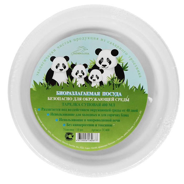 "Набор суповых био-тарелок ""Greenmaster"", цвет: белый, 400 мл, 10 шт"