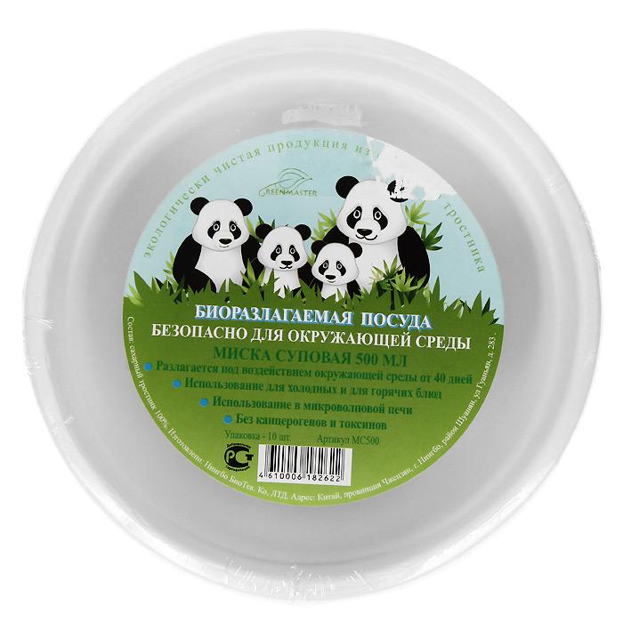 Набор суповых био-мисок Greenmaster, цвет: белый, 500 мл, 10 штМС500Набор Greenmaster состоит из 10 суповых био-мисок. Биоразлагаемая посуда, полученная из сахарного тростника, является экологически чистой и абсолютно безопасной для окружающей среды. Разлагается под воздействием окружающей среды от 40 дней. Используется для холодных и для горячих блюд. Можно использовать в микроволновой печи. Без канцерогенов и токсинов. Материал: сахарный тростник 100%. Объем мисок: 500 мл. Размер тарелки: 15,5 см х 15,5 см х 5,6 см. Комплектация: 10 штук.