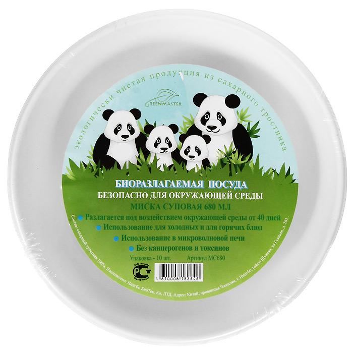 Набор суповых био-мисок Greenmaster, цвет: белый, 680 мл, 10 штМС680Набор Greenmaster состоит из 10 суповых био-мисок. Биоразлагаемая посуда, полученная из сахарного тростника, является экологически чистой и абсолютно безопасной для окружающей среды. Разлагается под воздействием окружающей среды от 40 дней. Используется для холодных и для горячих блюд. Можно использовать в микроволновой печи. Без канцерогенов и токсинов. Материал: сахарный тростник 100%. Объем мисок: 680 мл. Размер тарелки: 18,9 см х 4,6 см х 18,9 см. Комплектация: 10 штук.