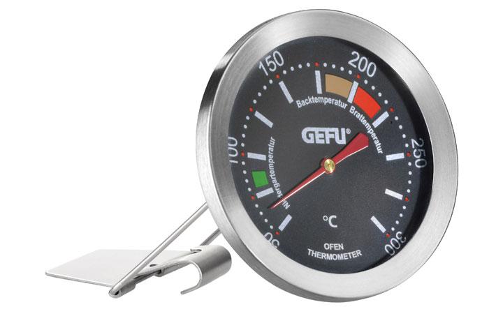 Термометр для духовки Gefu, цвет: серебристый21870Термометр позволяет контролировать температуру в духовке. Термометр можно повесить на решетке, либо поставить на поверхность. Цветом выделен оптимальный диапазон для низкотемпературной готовки, для запекания, для жарки.