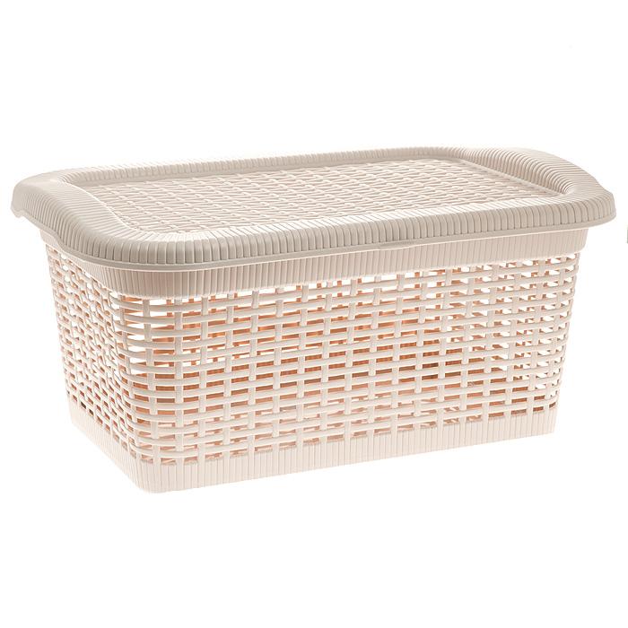 Корзина Rattan с закрепленной крышкой, цвет: бледно-бежевый, 40 л2170_ бледно-бежевыйПрямоугольная корзина Rattan изготовлена из прочного пластика бледно-бежевого цвета. Она предназначена для хранения мелочей в ванной, на кухне, даче или гараже. Позволяет хранить мелкие вещи, исключая возможность их потери. Корзина с отверстиями на стенках и крышке в виде плетения и со сплошным дном. Корзина имеет плотно закрывающуюся закрепленную крышку. Сбоку имеются две ручки для удобной переноски.