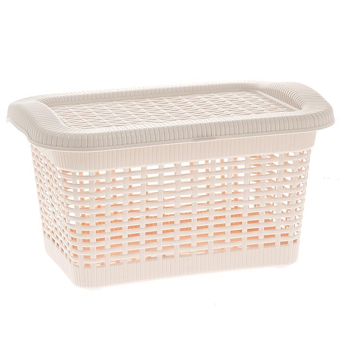 Корзина Rattan с закрепленной крышкой, цвет: бледно-бежевый, 20 л2168_ бледно-бежевыйПрямоугольная корзина Rattan изготовлена из прочного пластика бледно-бежевого цвета. Она предназначена для хранения мелочей в ванной, на кухне, даче или гараже. Позволяет хранить мелкие вещи, исключая возможность их потери. Корзина с отверстиями на стенках и крышке в виде плетения и со сплошным дном. Корзина имеет плотно закрывающуюся закрепленную крышку. Сбоку имеются две ручки для удобной переноски. Характеристики: Материал: пластик. Цвет: бледно-бежевый. Объем корзины: 20 л. Размер корзины (Д х Г х В): 43 см х 32 см х 25 см. Артикул: 2168.