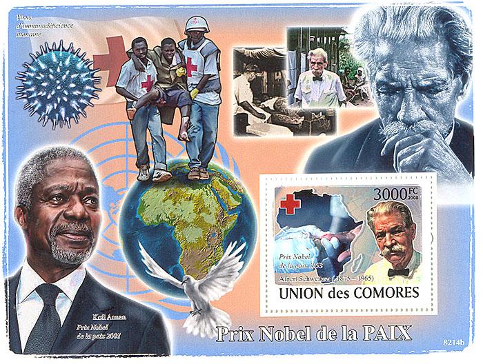 Почтовый блок Нобелевская премия Мира. Союз Коморских островов. 2008 годL2070 EПочтовый блок Нобелевская премия Мира. Союз Коморских островов. 2008 год. Размер 14,7 х 10,7 см. Сохранность хорошая.