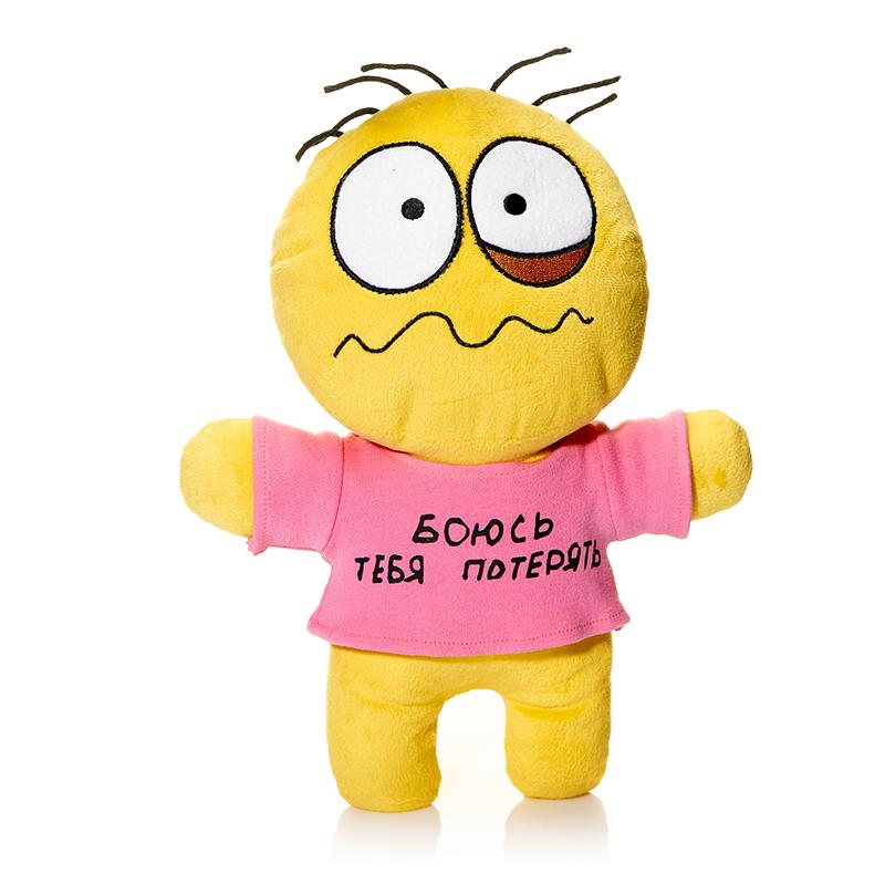 Maxi Toys Мягкая кукла Смайл Боюсь тебя потерятьMT-TS291108-30Мягкая игрушка Смайл: Боюсь тебя потерять, выполненная в виде грустного человечка-смайлика, покорит у каждого, кто ее увидит. Человечек одет в розовую маечку с надписью: Боюсь тебя потерять. Игрушка изготовлена из мягкого, приятного на ощупь искусственного меха с наполнителем из гипоаллергенного полиэфирного волокна. Удивительно мягкая игрушка принесет радость и подарит своему обладателю мгновения нежных объятий и приятных воспоминаний. Великолепное качество исполнения делают эту игрушку чудесным подарком к любому празднику. Такой смайлик станет замечательным подарком как ребенку, так и взрослому. Характеристики: Материал игрушки: трикотаж, искусственный мех. Наполнитель: полое полиэфирное волокно. Высота игрушки: 30 см. Цвет: желтый. Артикул: MT-TS291108-30.