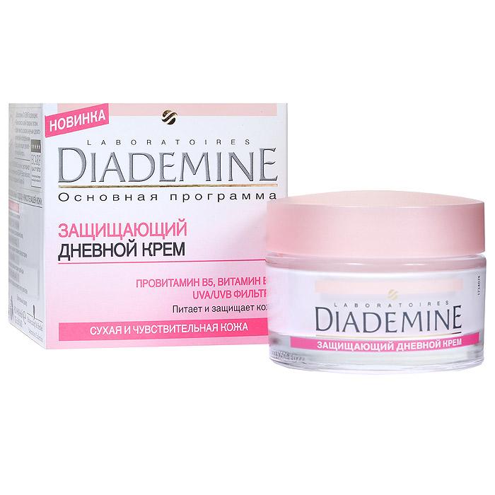 Diademine Крем для лица, защищающий, дневной, для сухой и чувствительной кожи, 50 мл9430860Крем для лица Diademine питает и защищает кожу. Защитный дневной крем, восстанавливает недостаток влаги и защищает от агрессивного воздействия внешней среды. Легкая формула быстро впитывается и проникает в глубокие слои кожи, увлажняя ее. Формула с витамином Е успокаивает и питает кожу, делая ее нежной и упругой. UVA/UVB фильтры защищают кожу от УФ-лучей.