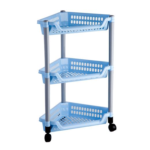 Этажерка угловая Полимербыт, цвет: голубой, 3 полки, на колесикахC087Угловая этажерка Полимербыт с 3 полками выполнена из пластика голубого цвета и предназначена для хранения различных предметов на кухне или в ванной. На кухне в ней можно хранить овощи и фрукты, в ванной - различные ванные принадлежности. Для удобства перемещения этажерка оснащена колесиками. Очень удобная и компактная, но в тоже время вместительная, она прекрасно впишется в пространство любого помещения. Этажерка придется особенно кстати, если у вас небольшая ванная или кухня: она займет минимум пространства. Легко собирается и разбирается. Характеристики: Материал: пластик. Цвет: голубой. Размер этажерки: 58 см х 38 см х 30 см. Размер упаковки: 38 см х 27 см х 11 см. Артикул: C087.