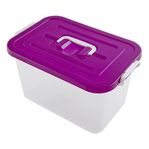 Контейнер для хранения, цвет: прозрачный, фиолетовый, 10 лC810Контейнер для хранения, выполненный из прочного прозрачного пластика, предназначен для хранения различных вещей. Крышка легко открывается и плотно закрывается с помощью легкого щелчка. Имеет удобную ручку для переноски. Контейнер поможет хранить все в одном месте, а также защитить вещи от пыли, грязи и влаги.