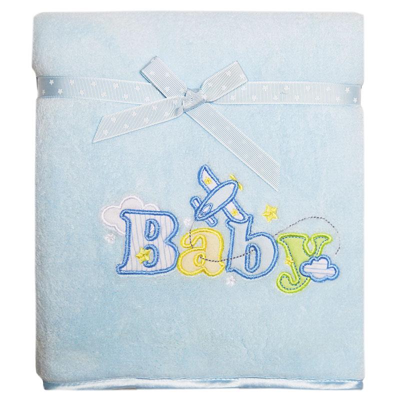 Плед детский Baby, цвет: голубой, 76 см х 101 смRB BABY 02Мягкий и уютный детский плед Baby нежного голубого цвета словно создан для того, чтобы окружить теплотой и радостью маленькую кроху. Он прекрасно подходит для укрывания малыша, как дома, так и на прогулке в коляске. Верхний слой пледа изготовлен из мягкого, приятного на ощупь плюша, нижний слой - из тонкого флиса. Оформлен он аппликацией в виде надписи Baby. Благодаря размерам и практичному материалу плед очень удобен в использовании. Детский плед Baby - лучший выбор родителей, которые хотят подарить ребенку ощущение комфорта и надежности уже с первых дней жизни. Рекомендации по уходу: Машинная стирка при 30°С, деликатный отжим.