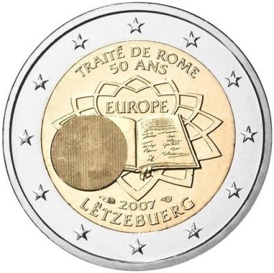 Монета номиналом 2 евро Римский договор. Люксембург, 2007 годL2070 EМонета номиналом 2 евро Римский договор. Люксембург, 2007 год Диаметр 2,5 см. Сохранность UNC (без обращения).