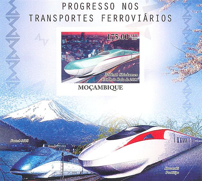 Почтовый блок без зубцов Прогресс железнодорожного транспорта. Мозамбик. 2010 годL2070 EПочтовый блок без зубцов Прогресс железнодорожного транспорта. Мозамбик. 2010 год. Размер марки 4,2 х 5,3 см, размер блока 11,2 х 12,2 см. Сохранность хорошая.
