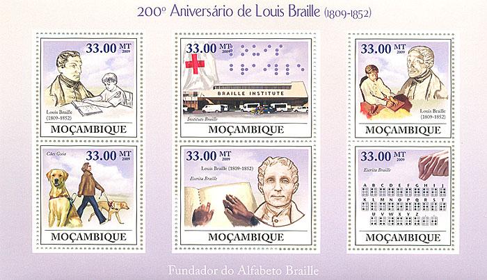Малый лист 200 лет со дня рождения Луи Брайля. Мозамбик. 2009 годL2070 EМалый лист 200 лет со дня рождения Луи Брайля. Мозамбик. 2009 год. Размер марок 4 х 3,7 см. Размер блока 17,2 х 10,2 см. Сохранность хорошая.