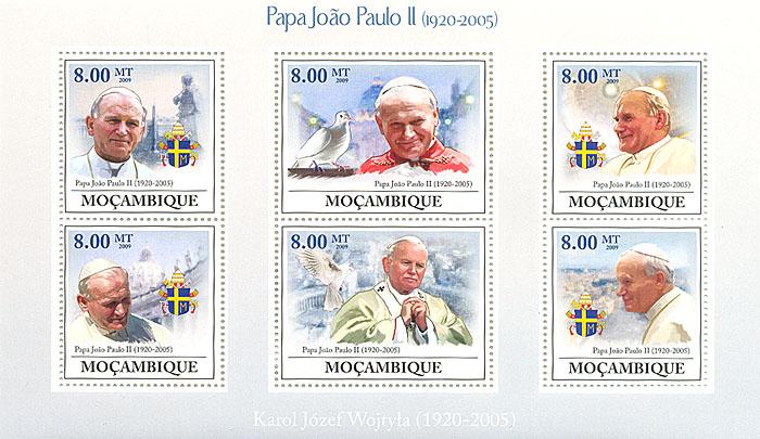 Малый лист Иоанн Павел II. Мозамбик. 2009 годL2070 EМалый лист Иоанн Павел II. Мозамбик. 2009 год. Размер марок 4 х 3,7 см. Размер блока 17,2 х 10,2 см. Сохранность хорошая.