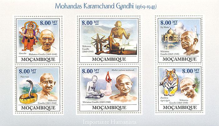 Малый лист Махатма Ганди. Мозамбик. 2009 годL2070 EМалый лист Махатма Ганди. Мозамбик. 2009 год. Размер марок 4 х 3,7 см. Размер блока 17,2 х 10,2 см. Сохранность хорошая.