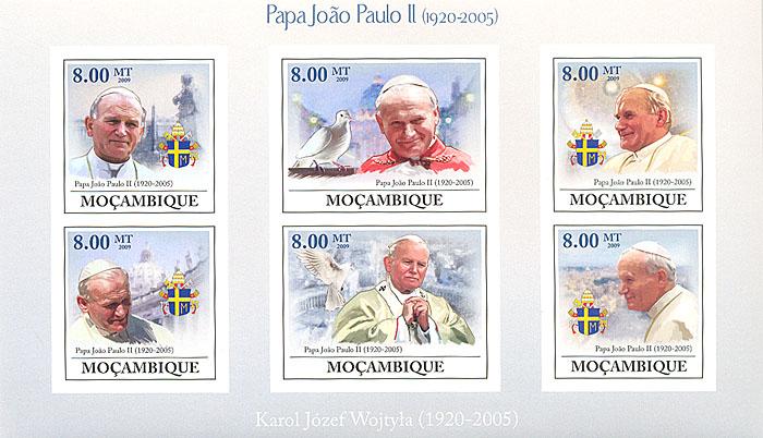 Малый лист без зубцов Иоанн Павел II. Мозамбик. 2009 годL2070 EМалый лист без зубцов Иоанн Павел II. Мозамбик. 2009 год. Размер 17,8 х 10,4 см. Сохранность хорошая.