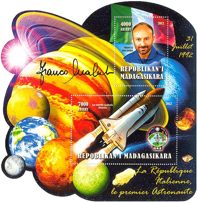 Малый лист Первый космонавт Италии. Мадагаскар. 2012 годL2070 EМалый лист Первый космонавт Италии. Мадагаскар. 2012 год. Размер марок 5 х 4, 8 х 5 см. Размер блока 14 х 14,5 см. Сохранность хорошая.