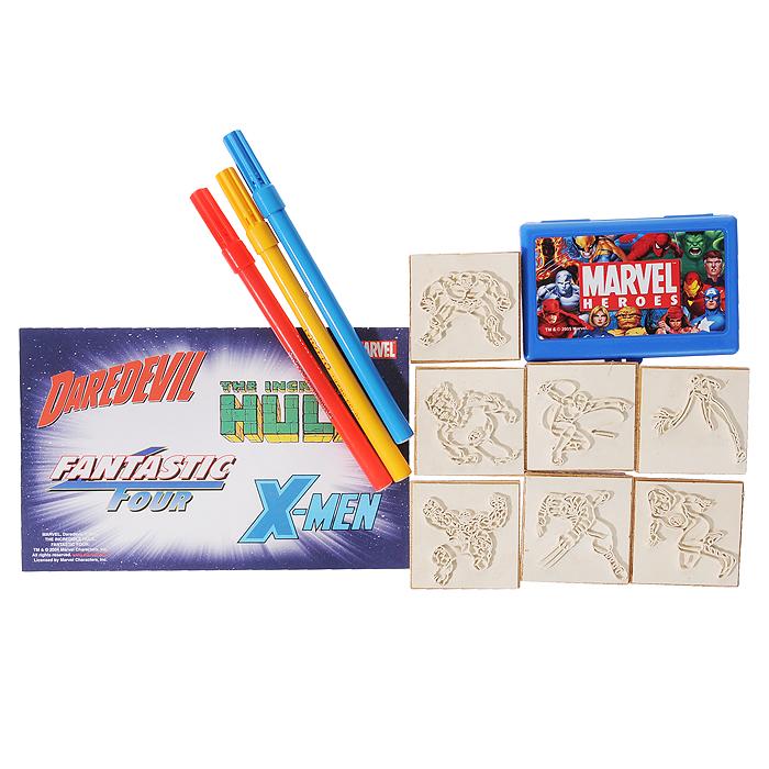"""Marvel Набор штампов """"Супергерои"""", с фломастерами, 12 предметов"""