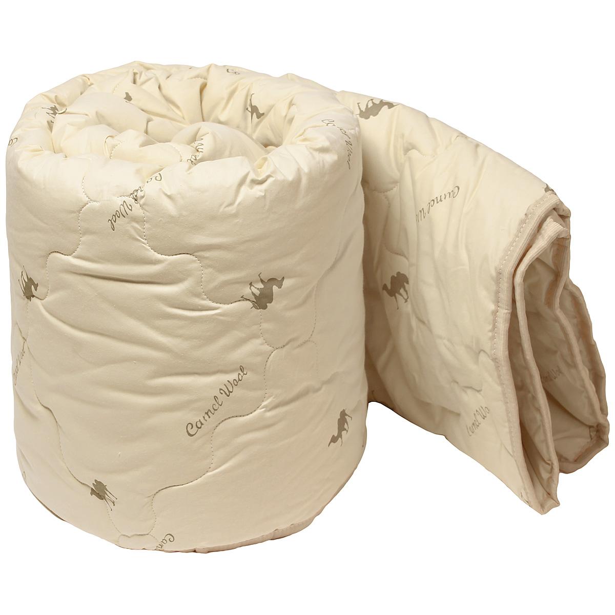 Одеяло Верблюжка, наполнитель: верблюжья шерсть, цвет: светло-бежевый, 172 см х 205 см3903-172-07-3Комфортное стеганое одеяло Верблюжка выполнено из хлопка с наполнителем из мягкой, нежной и теплой верблюжьей шерсти. Благодаря специальной технологии изготовления изделие можно стирать. Цвет чехла – светло-бежевый с изображением верблюдов. Воздухопроницаемое одеяло прекрасно регулирует влажность и теплообмен, обеспечивая здоровый, восстанавливающий сон. Одеяло является всесезонным. В приятной невесомости, мягкости теплого верблюжьего пуха сомневаться не приходится. Успокаивающее действие верблюжьего пуха - то, что нужно современному человеку, живущему в быстром ритме. Одеяло упаковано в холщово-пластиковую сумку-чехол на молнии с удобной ручкой.