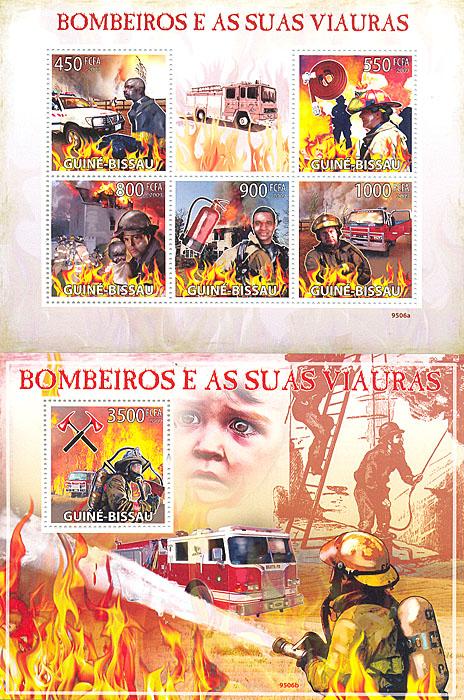 Комплект из почтового блока и малого листа Пожарные. Гвинея-Бисау. 2009 годL2070 EКомплект из почтового блока и малого листа Пожарные. Гвинея-Бисау. 2009 год. Размеры 10,4 х 11 см, 14,2 х 10,7 см. Сохранность хорошая.