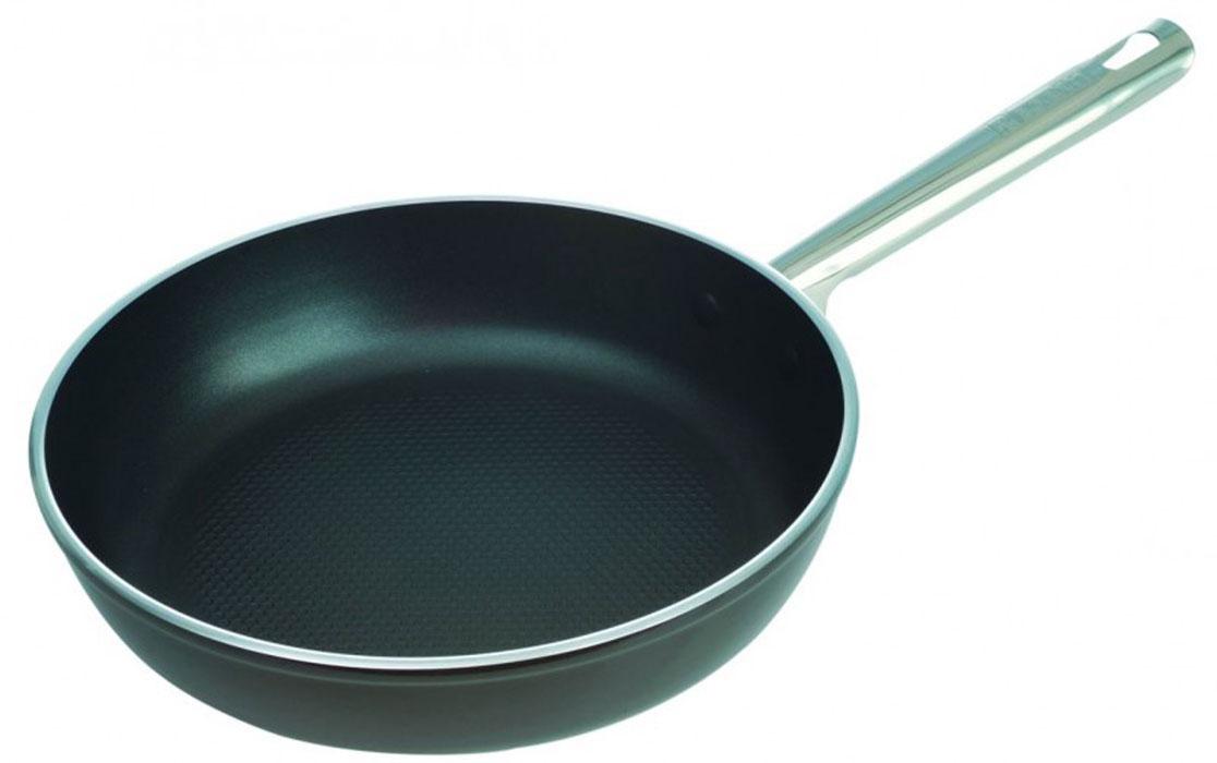 Сковорода Tesoro кованая. Диаметр 26 см93-AL-TE-1-26Сковорода Linea Tesoro изготовлена из высококачественного алюминия с термостойким покрытием Senotherm. Сковорода, изготовленная методом ковки, сохраняет все свойства, присущие литой посуде, а благодаря оптимальному соотношению толщины стенок и дна такую посуду можно использовать на всех существующих типах плит. Эргономичная ручка выполнена из нержавеющей стали. Утолщенные дно и стенки кованой посуды и великолепные теплопроводные свойства алюминия гарантируют равномерное нагревание посуды и быстрое приготовление любимых блюд. Дно сковороды Linea Tesoro армировано диском из нержавеющей стали, что придает изделию дополнительную прочность и возможность использования на индукционных плитах. Высококачественное и долговечное антипригарное покрытие Quantanium с элементами титана позволяет использовать металлаческие кухонные аксессуары. Покрытие экологично и безопасно для здоровья: не вступает в химические реакции с окислителями, щелочами, кислотами, органическими...