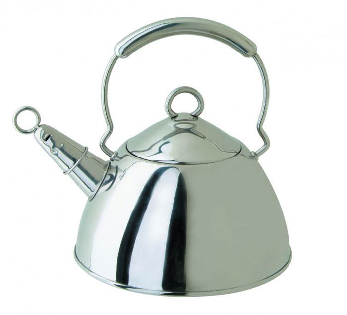Чайник Tea со свистком, 2 л. 93-200193-2001Чайник Tea выполнен из высококачественной нержавеющей стали 18/10 с зеркальной полировкой. Нержавеющая сталь обладает высокой устойчивостью к коррозии, не вступает в реакцию с холодными и горячими продуктами и полностью сохраняет их вкусовые качества. Многослойное капсульное дно аккумулирует тепло, способствует быстрому закипанию воды даже при небольшой мощности конфорок. Чайник снабжен удобной металлической ручкой. Носик чайника с насадкой-свистком позволит вам контролировать процесс подогрева или кипячения воды. Благодаря оригинальному дизайну такой чайник станет украшением любой кухни. Чайник пригоден для использования на всех видах плит. Можно мыть в посудомоечной машине.