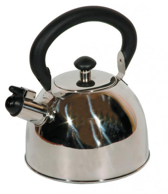 Чайник Tea со свистком, 2 л93-2003Чайник Tea выполнен из высококачественной нержавеющей стали 18/10 с зеркальной полировкой. Нержавеющая сталь обладает высокой устойчивостью к коррозии, не вступает в реакцию с холодными и горячими продуктами и полностью сохраняет их вкусовые качества. Многослойное капсульное дно аккумулирует тепло, способствует быстрому закипанию воды даже при небольшой мощности конфорок. Чайник снабжен удобной бакелитовой ручкой. Носик чайника имеет откидной свисток, звуковой сигнал которого подскажет, когда закипит вода. Благодаря оригинальному дизайну такой чайник станет украшением любой кухни. Крепление ручек посуды к корпусу выполнено методом точечной сварки или клепкой что обеспечивает минимальный нагрев, прочность и надежность. Чайник пригоден для использования на всех видах плит. Можно мыть в посудомоечной машине. Характеристики: Материал: нержавеющая сталь, пластик. Объем: 2 л. Диаметр основания чайника: 18 см. Высота чайника (с учетом ручки): 23...