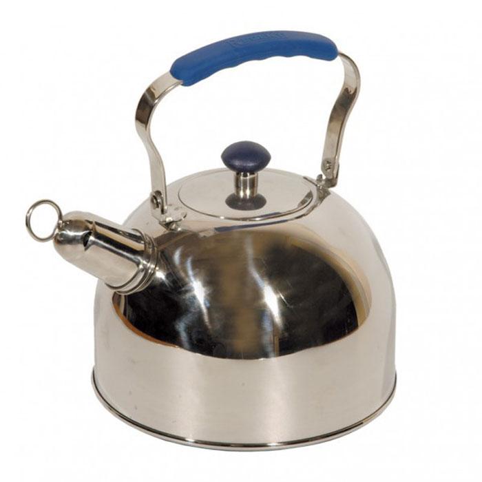 Чайник Tea со свистком, 3 л93-2507BЧайник Tea выполнен из высококачественной нержавеющей стали 18/10 с зеркальной полировкой. Нержавеющая сталь обладает высокой устойчивостью к коррозии, не вступает в реакцию с холодными и горячими продуктами и полностью сохраняет их вкусовые качества. Многослойное капсульное дно аккумулирует тепло, способствует быстрому закипанию воды даже при небольшой мощности конфорок. Чайник снабжен удобной силиконовой ручкой синего цвета. Носик чайника с насадкой-свистком позволит вам контролировать процесс подогрева или кипячения воды. Благодаря оригинальному дизайну такой чайник станет украшением любой кухни. Крепление ручек посуды к корпусу выполнено методом точечной сварки или клепкой что обеспечивает минимальный нагрев, прочность и надежность. Чайник пригоден для использования на всех видах плит. Можно мыть в посудомоечной машине.