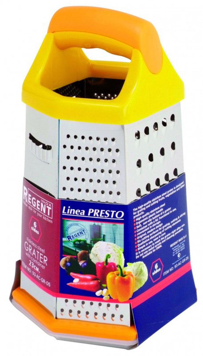 Терка Regent Inox Presto шестигранная, цвет: оранжевый, стальной, с контейнером93-AC-GR-05Терка Regent Inox Presto выполнена из высококачественной нержавеющей стали. Терка предназначена для измельчения и нарезки фруктов, овощей и других продуктов. В комплект входит функциональный в использовании и удобный в хранении контейнер с крышкой. Преимущества терки Regent Inox Presto: - эргономичная пластиковая ручка, - мягкое нескользящее основание терки, - оригинальный современный дизайн, - шесть режущих поверхностей для шинковки, крупной и мелкой нарезки, - качественная заточка режущих элементов, - простота в использовании, легкость в уходе. Терку необходимо мыть сразу после использования. Не используйте для чистки жесткие предметы, металлические мочалки и чистящие порошки.