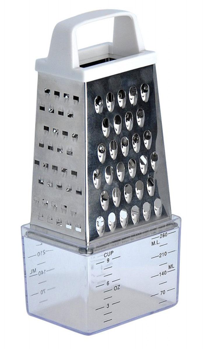 Терка Regent Inox Presto четырёхгранная, с контейнером, 15 см93-AC-GR-06Терка Regent Inox Presto выполнена из высококачественной нержавеющей стали. Терка предназначена для измельчения и нарезки фруктов, овощей и других продуктов. В комплект входит платиковый контейнер с мерными делениями. Преимущества терки Regent Inox Presto: - эргономичная пластиковая ручка, - мягкое нескользящее основание терки, - оригинальный современный дизайн, - четыре режущие поверхности для шинковки, крупной и мелкой нарезки, - качественная заточка режущих элементов, - простота в использовании, легкость в уходе. Терку необходимо мыть сразу после использования. Не используйте для чистки жесткие предметы, металлические мочалки и чистящие порошки.