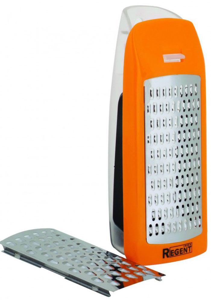 Терка Regent Inox Presto, с контейнером, цвет: стальной, оранжевый, 2 насадки, 17 см х 7 см х 5 см93-AC-GR-08Терка Regent Inox Presto выполнена из высококачественной нержавеющей стали. Терка предназначена для измельчения и нарезки фруктов, овощей и других продуктов. В комплект входят сменные режущие элементы для двух типов нарезки: крупной и мелкой, а также пластиковый контейнер. Преимущества терки Regent Inox Presto: - оригинальный современный дизайн, - качественная заточка режущих элементов, - простота в использовании, легкость в уходе. Терку необходимо мыть сразу после использования. Не используйте для чистки жесткие предметы, металлические мочалки и чистящие порошки.