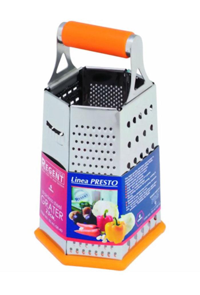 Терка Regent Inox Presto шестигранная, цвет: оранжевый, стальной. 93-AC-GR-4093-AC-GR-40Терка Regent Inox Presto выполнена из высококачественной нержавеющей стали. Терка предназначена для измельчения и нарезки фруктов, овощей и других продуктов. Преимущества терки Regent Inox Presto: - эргономичная пластиковая ручка, - мягкое нескользящее основание терки, - оригинальный современный дизайн, - шесть режущих поверхностей для шинковки, крупной и мелкой нарезки, - качественная заточка режущих элементов, - простота в использовании, легкость в уходе. Терку необходимо мыть сразу после использования. Не используйте для чистки жесткие предметы, металлические мочалки и чистящие порошки.