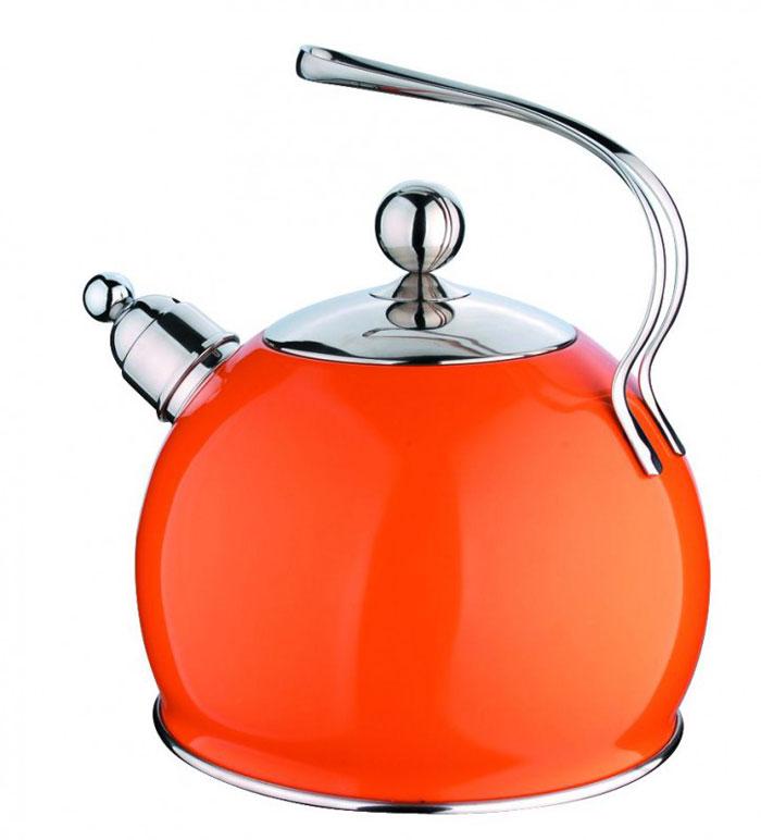Чайник Regent Inox Tea со свистком, цвет: оранжевый, 3 л93-TEA-08.1Чайник Regent Inox Tea выполнен из высококачественной нержавеющей стали 18/10 с внешним декоративным покрытием оранжевого цвета. Основные особенности: - оптимальное соотношение толщины дна и стенок посуды, что обеспечивает равномерное распределение тепла, экономию энергозатрат и устойчивость к деформации, - сохранение в воде всех полезных свойств и микроэлементов, - многослойное капсулированное дно: аккумулирует тепло, способствует быстрому закипанию и приготовлению пищи даже при небольшой мощности конфорок, - функционален, гигиеничен, эргономичен, а благодаря оригинальному дизайну чайник станет украшением любой кухни. Чайник оснащен крышкой и удобной ручкой. Свисток на носике чайника всегда подскажет, когда вода закипела. Подходит для всех типов плит, включая индукционные. Можно мыть в посудомоечной машине.