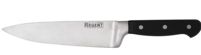 Нож-шеф разделочный Regent Inox Master, длина лезвия 20,5 см93-FPO4-1Разделочный нож-шеф Regent Inox Master изготовлен из высококачественной нержавеющей стали. Острое лезвие ножа имеет ровную поверхность и выверенный угол заточки. Специальная закалка металла повышает прочность изделия. Сбалансированность ножа обеспечивает приложение минимальных усилий при резке. Лезвие ножа не впитывает запахи и не оставляет запаха на продуктах. Оригинальная и практичная ручка выполнена из бакелита. Нож с длинным широким клинком идеально шинкует, нарезает и измельчает продукты. Такой нож займет достойное место среди аксессуаров на вашей кухне.