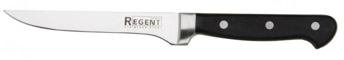 Нож универсальный Regent Inox Master, длина лезвия 15 см93-FPO4-4.1Универсальный нож Regent Inox Master изготовлен из высококачественной нержавеющей стали. Острое лезвие ножа имеет ровную поверхность и выверенный угол заточки. Специальная закалка металла повышает прочность изделия. Сбалансированность ножа обеспечивает приложение минимальных усилий при резке. Лезвие ножа не впитывает запахи и не оставляет запаха на продуктах. Оригинальная и практичная ручка выполнена из бакелита. Легкий и многофункциональный нож с узким лезвием предназначен для резки небольших овощей и фруктов, колбасы, сыра, масла. Такой нож займет достойное место среди аксессуаров на вашей кухне.